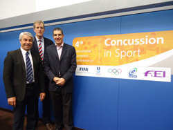 Drs Martin Raftery (IRB), Simon Kemp (RFU) and Jon Patricios. 4th International Conference on Concussion in Sport, Zurich, November 2012