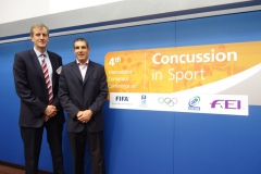 Dr Simon Kemp (IRB) and Dr Jon Patricios. 4th International Conference on Concussion in Sport, Zurich, November 2012.