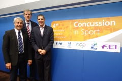 Drs Martin Raftery (World Rugby), Simon Kemp (RFU) and Jon Patricios. 4th International Conference on Concussion in Sport, Zurich, November 2012